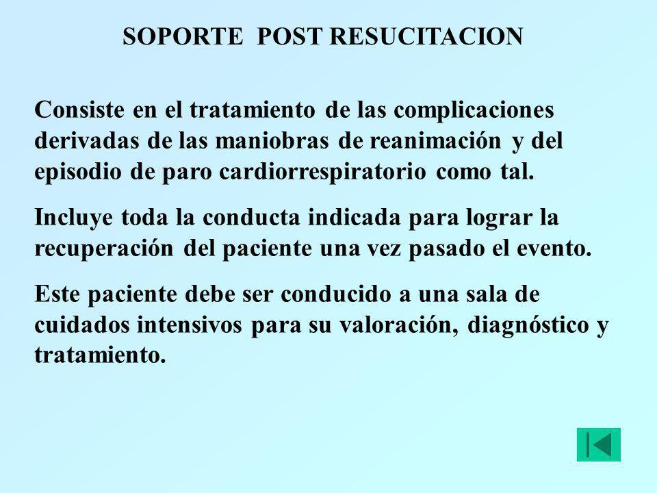 SOPORTE POST RESUCITACION Consiste en el tratamiento de las complicaciones derivadas de las maniobras de reanimación y del episodio de paro cardiorres