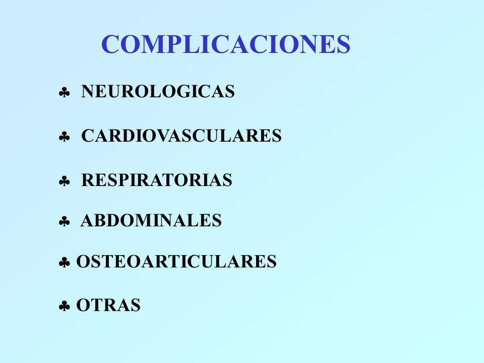 COMPLICACIONES NEUROLOGICAS CARDIOVASCULARES RESPIRATORIAS ABDOMINALES OSTEOARTICULARES OTRAS