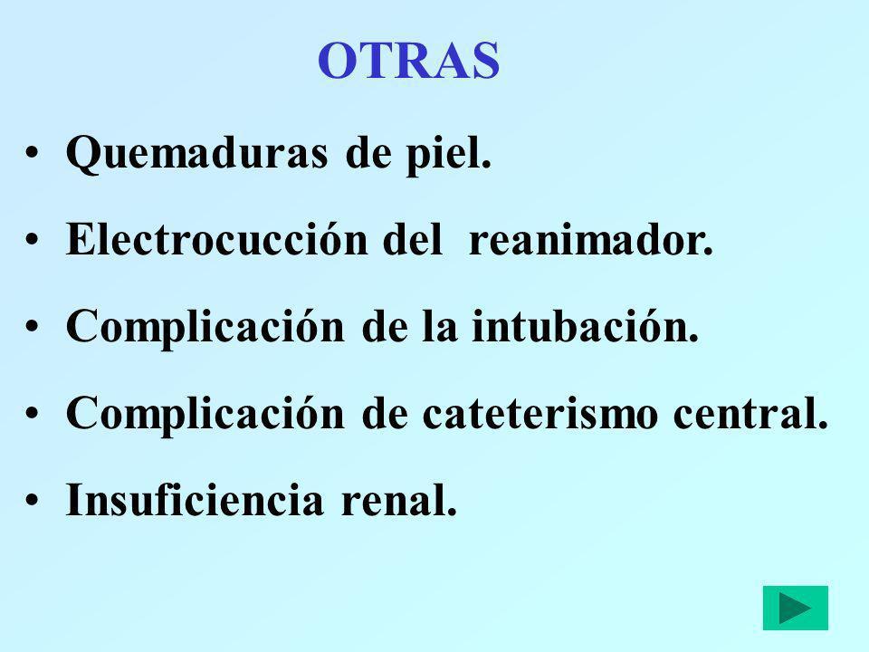 OTRAS Quemaduras de piel. Electrocucción del reanimador. Complicación de la intubación. Complicación de cateterismo central. Insuficiencia renal.