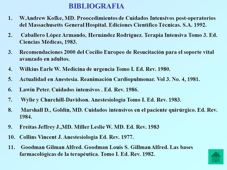 BIBLIOGRAFIA 1.W.Andrew Kofke, MD. Proocedimientos de Cuidados Intensivos post-operatorios del Massachusetts General Hospital. Ediciones Científico Té