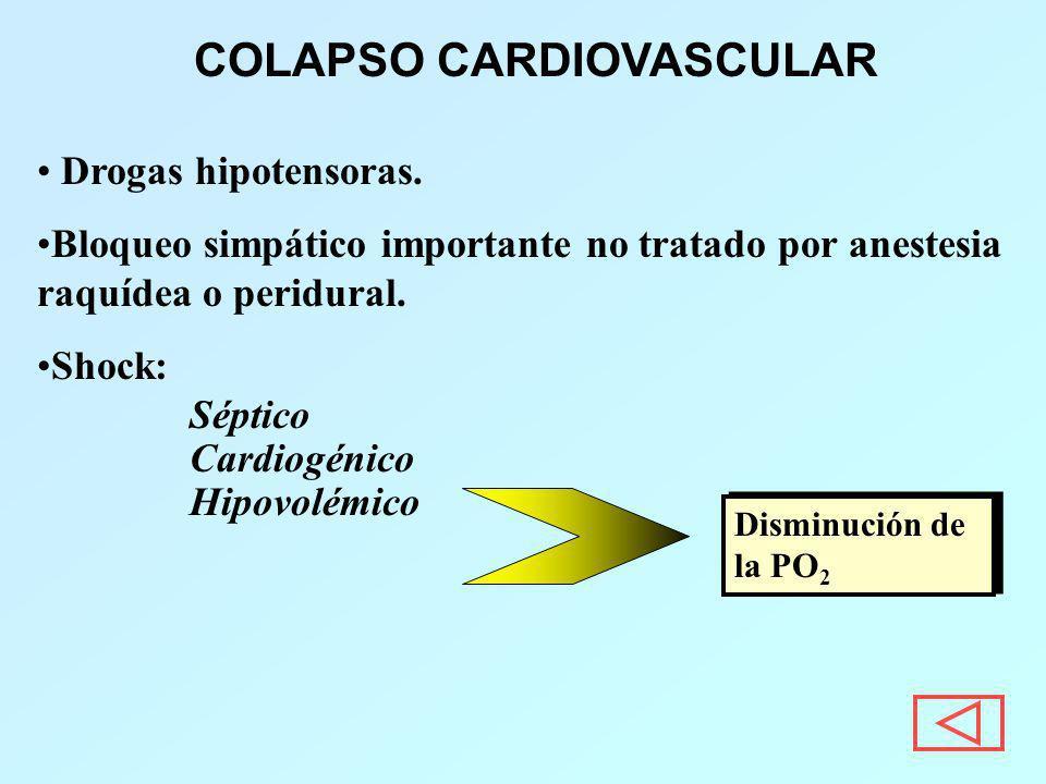 Drogas hipotensoras. Bloqueo simpático importante no tratado por anestesia raquídea o peridural. Shock: Séptico Cardiogénico Hipovolémico COLAPSO CARD