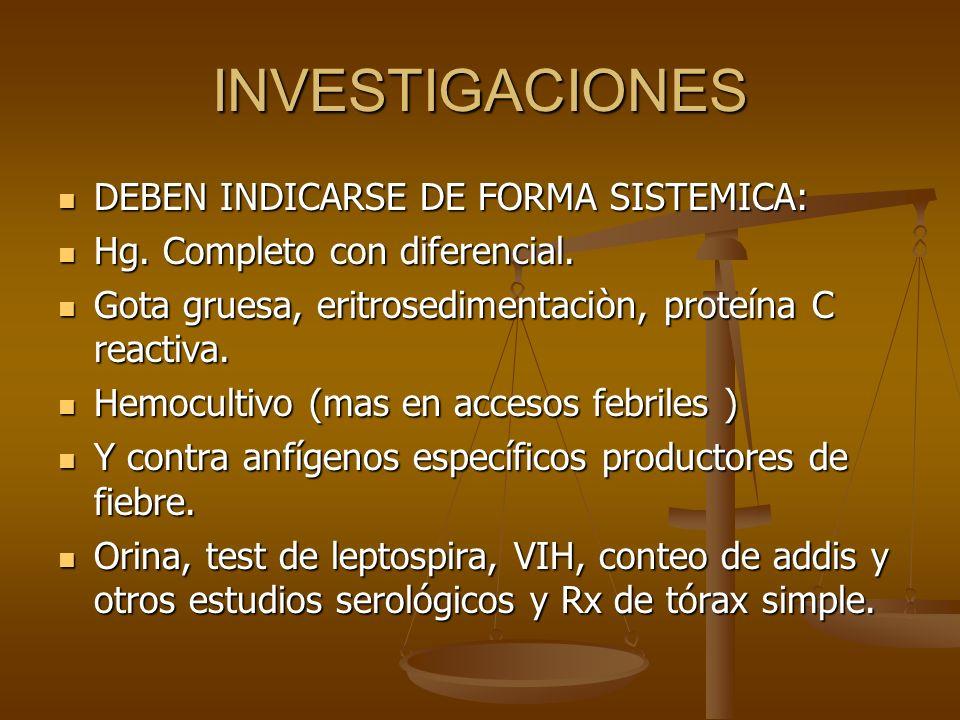 INVESTIGACIONES DEBEN INDICARSE DE FORMA SISTEMICA: DEBEN INDICARSE DE FORMA SISTEMICA: Hg. Completo con diferencial. Hg. Completo con diferencial. Go