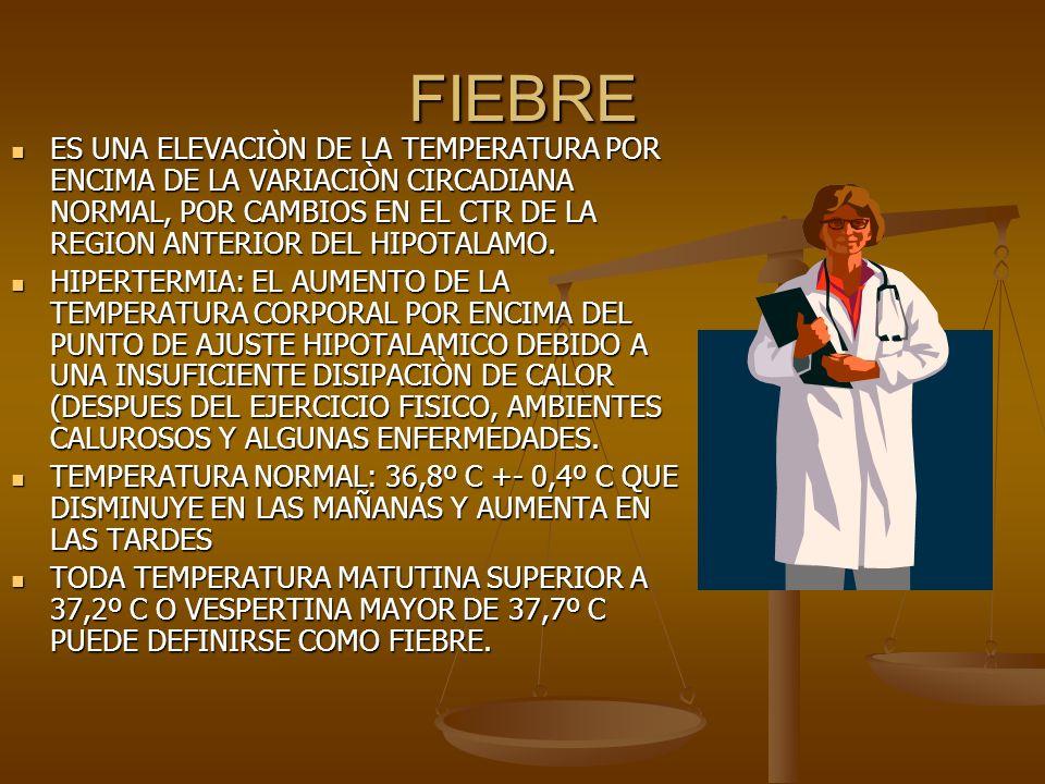 FIEBRE ES UNA ELEVACIÒN DE LA TEMPERATURA POR ENCIMA DE LA VARIACIÒN CIRCADIANA NORMAL, POR CAMBIOS EN EL CTR DE LA REGION ANTERIOR DEL HIPOTALAMO. ES