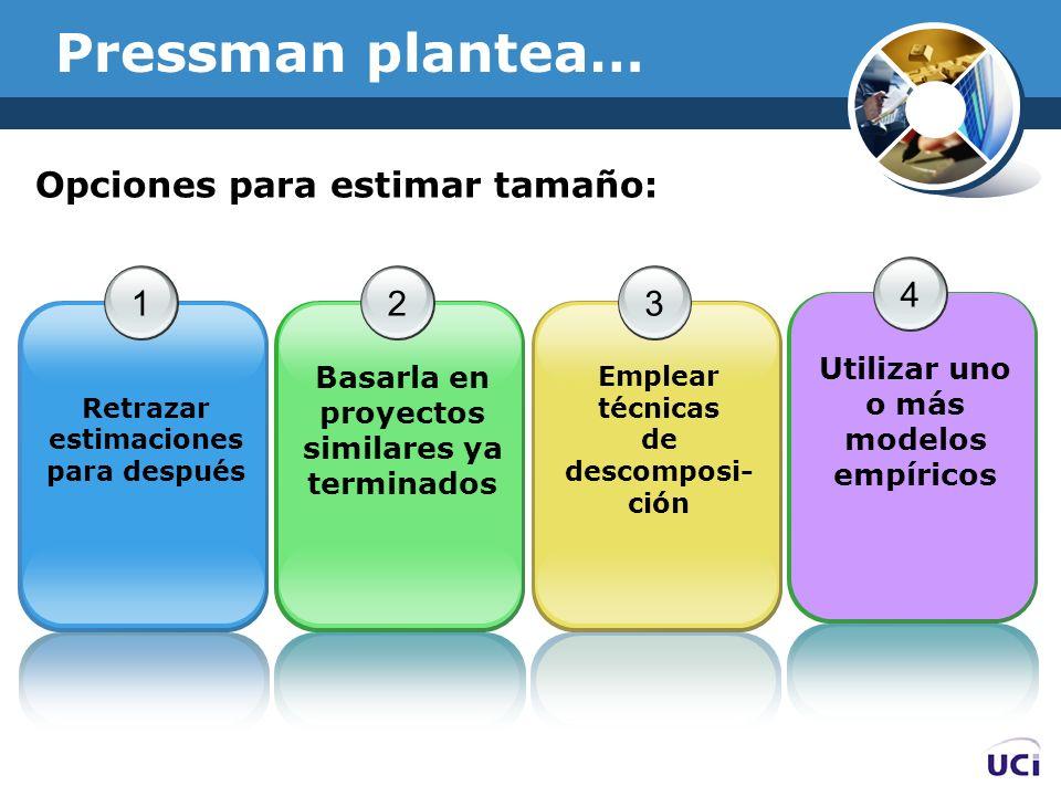 Pressman plantea… 1 Retrazar estimaciones para después 2 Basarla en proyectos similares ya terminados 3 Emplear técnicas de descomposi- ción 4 Utiliza