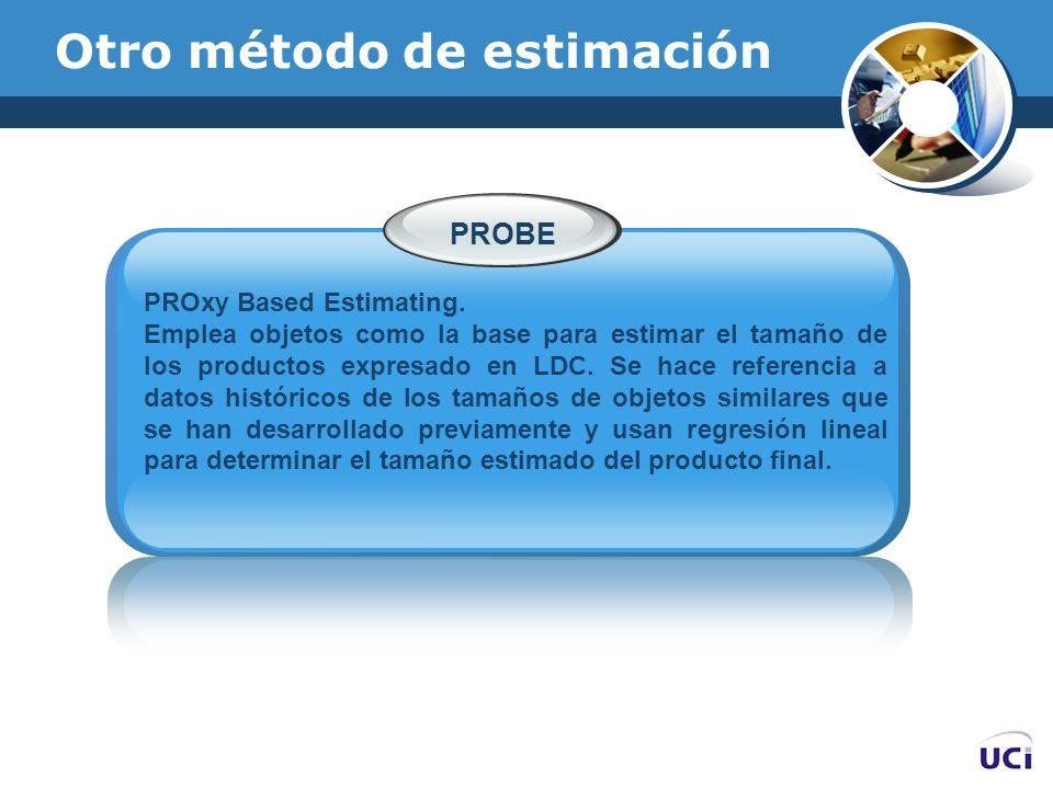 Otro método de estimación PROxy Based Estimating. Emplea objetos como la base para estimar el tamaño de los productos expresado en LDC. Se hace refere