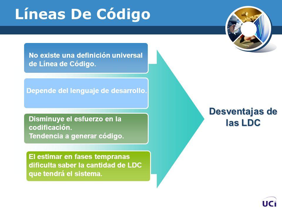 Líneas De Código Desventajas de las LDC No existe una definición universal de Línea de Código. Depende del lenguaje de desarrollo. Disminuye el esfuer
