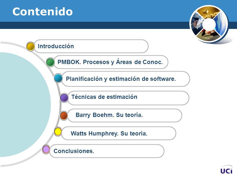 Contenido Planificación y estimación de software. PMBOK. Procesos y Áreas de Conoc. Introducción Watts Humphrey. Su teoría. Conclusiones. Barry Boehm.