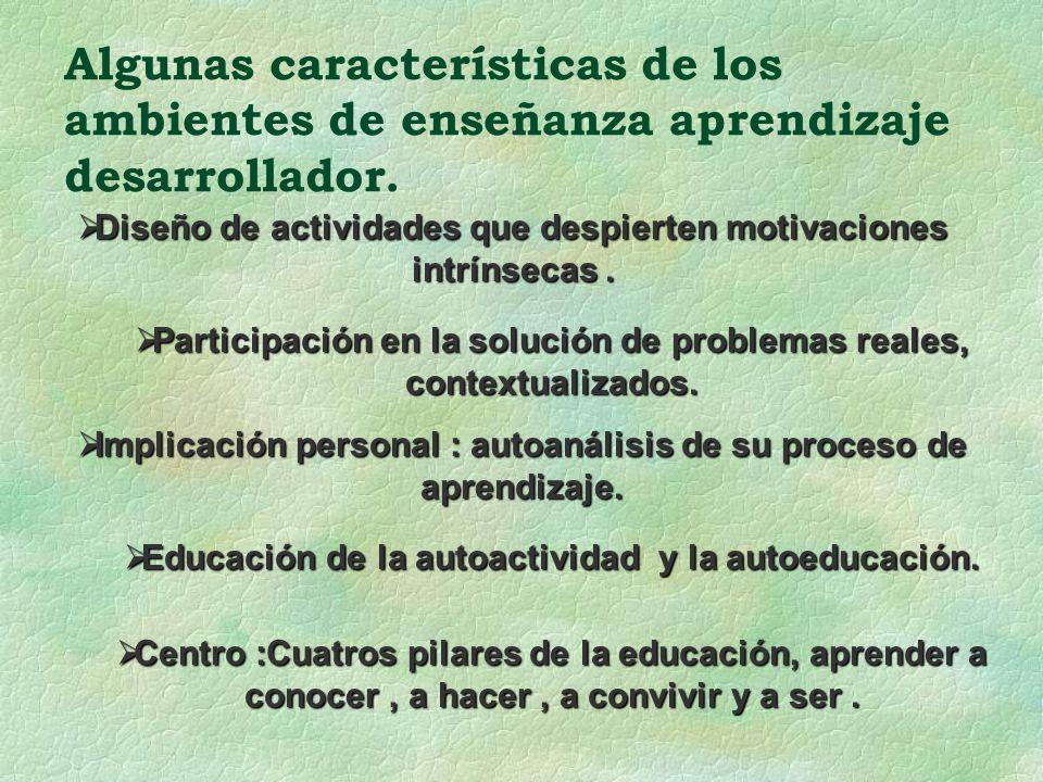Algunas características de los ambientes de enseñanza aprendizaje desarrollador. Diseño de actividades que despierten motivaciones intrínsecas. Diseño