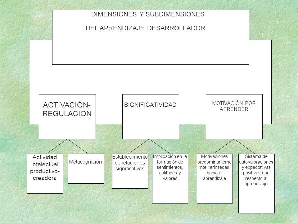 DIMENSIONES Y SUBDIMENSIONES DEL APRENDIZAJE DESARROLLADOR. ACTIVACIÓN- REGULACIÓN SIGNIFICATIVIDAD MOTIVACIÓN POR APRENDER Actividad intelectual prod