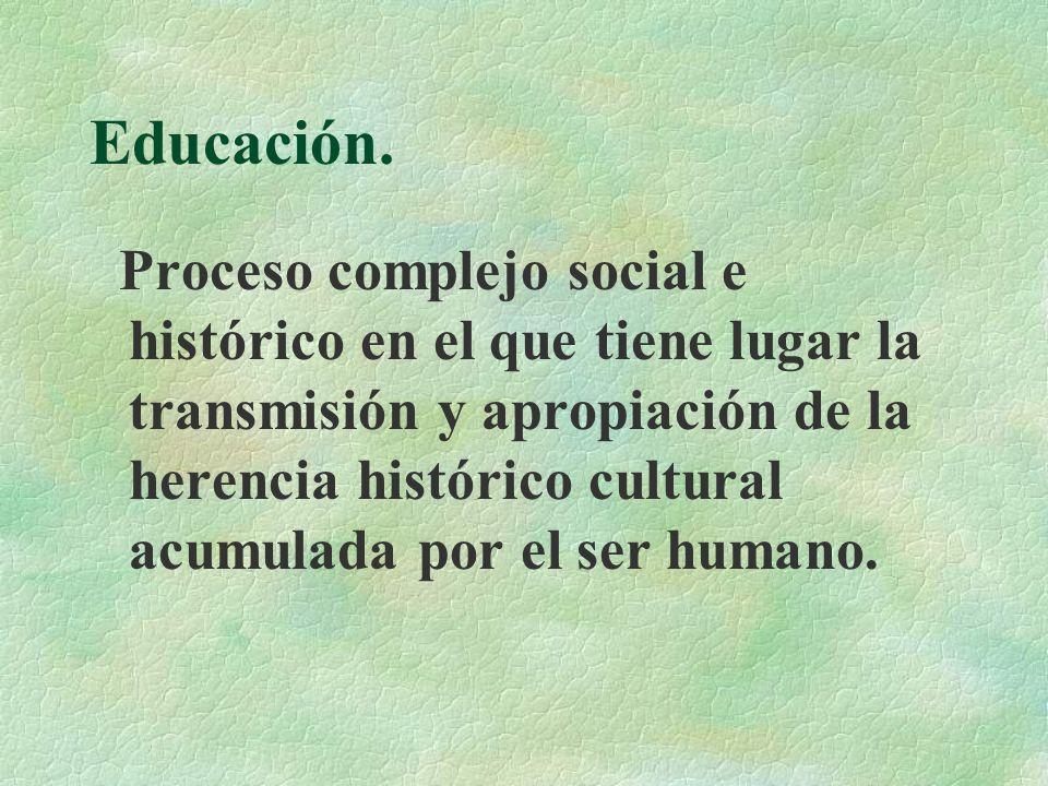 Educación. Proceso complejo social e histórico en el que tiene lugar la transmisión y apropiación de la herencia histórico cultural acumulada por el s