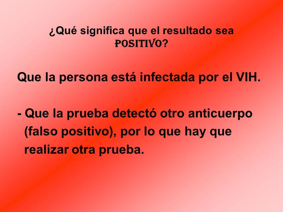¿ Qué significa que el resultado sea NEGATIVO ? Que la persona: - NO está infectada por el VIH, - se encuentra en Período de Ventana.