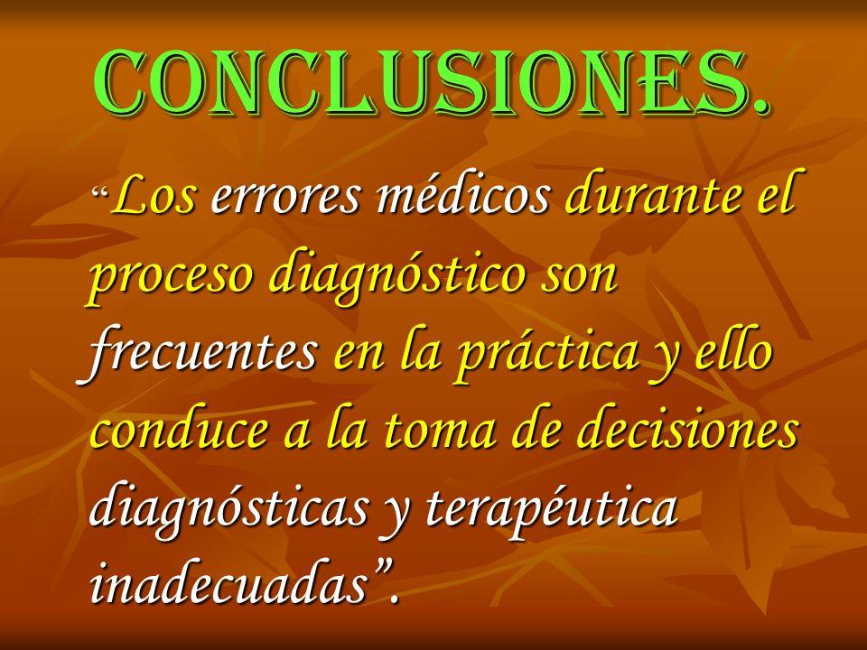 CONCLUSIONES. Los errores médicos durante el proceso diagnóstico son frecuentes en la práctica y ello conduce a la toma de decisiones diagnósticas y t