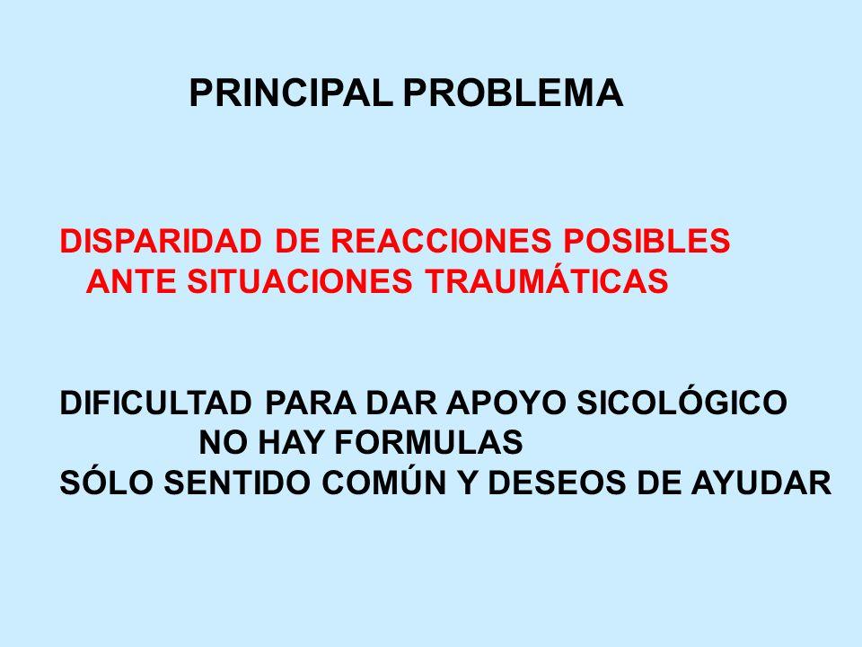 PRINCIPAL PROBLEMA DISPARIDAD DE REACCIONES POSIBLES ANTE SITUACIONES TRAUMÁTICAS DIFICULTAD PARA DAR APOYO SICOLÓGICO NO HAY FORMULAS SÓLO SENTIDO CO