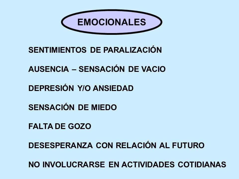 EMOCIONALES SENTIMIENTOS DE PARALIZACIÓN AUSENCIA – SENSACIÓN DE VACIO DEPRESIÓN Y/O ANSIEDAD SENSACIÓN DE MIEDO FALTA DE GOZO DESESPERANZA CON RELACI