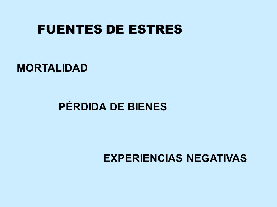 FUENTES DE ESTRES MORTALIDAD PÉRDIDA DE BIENES EXPERIENCIAS NEGATIVAS