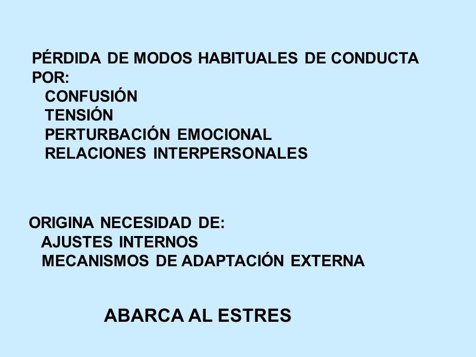 PÉRDIDA DE MODOS HABITUALES DE CONDUCTA POR: CONFUSIÓN TENSIÓN PERTURBACIÓN EMOCIONAL RELACIONES INTERPERSONALES ORIGINA NECESIDAD DE: AJUSTES INTERNO