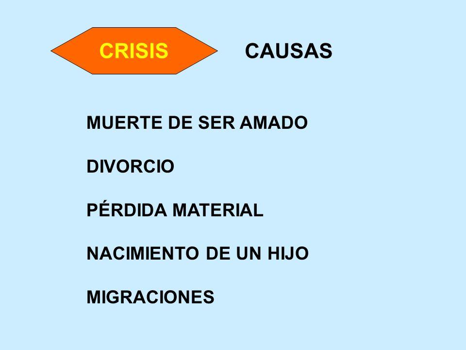 CAUSAS MUERTE DE SER AMADO DIVORCIO PÉRDIDA MATERIAL NACIMIENTO DE UN HIJO MIGRACIONES CRISIS