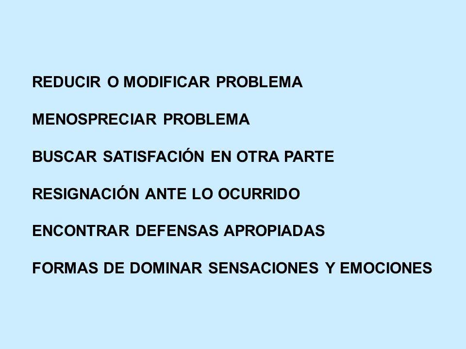 REDUCIR O MODIFICAR PROBLEMA MENOSPRECIAR PROBLEMA BUSCAR SATISFACIÓN EN OTRA PARTE RESIGNACIÓN ANTE LO OCURRIDO ENCONTRAR DEFENSAS APROPIADAS FORMAS
