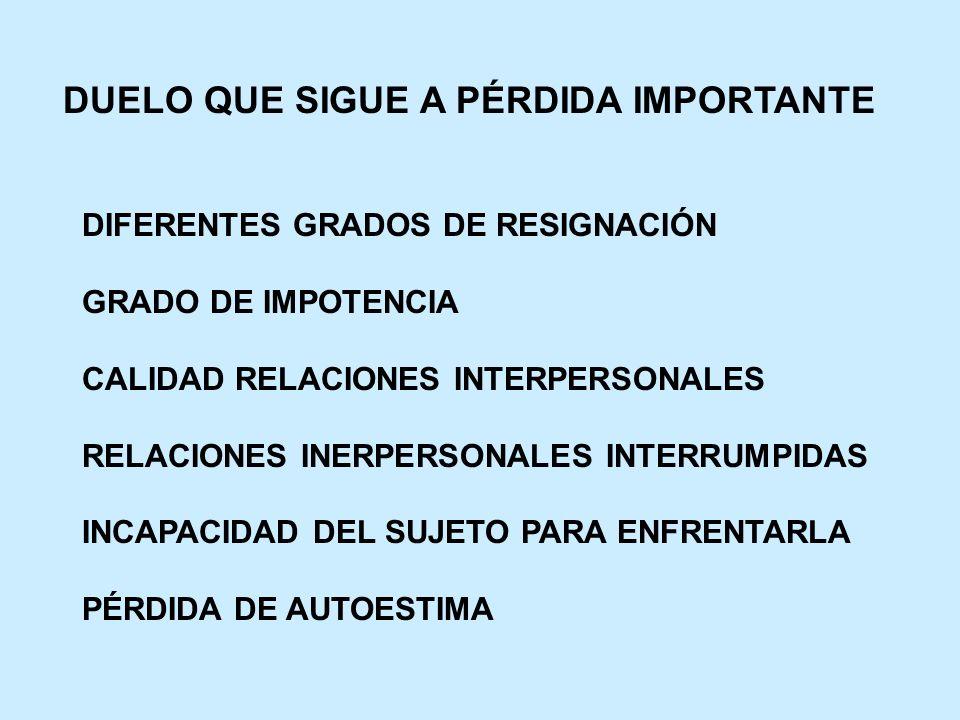 DUELO QUE SIGUE A PÉRDIDA IMPORTANTE DIFERENTES GRADOS DE RESIGNACIÓN GRADO DE IMPOTENCIA CALIDAD RELACIONES INTERPERSONALES RELACIONES INERPERSONALES