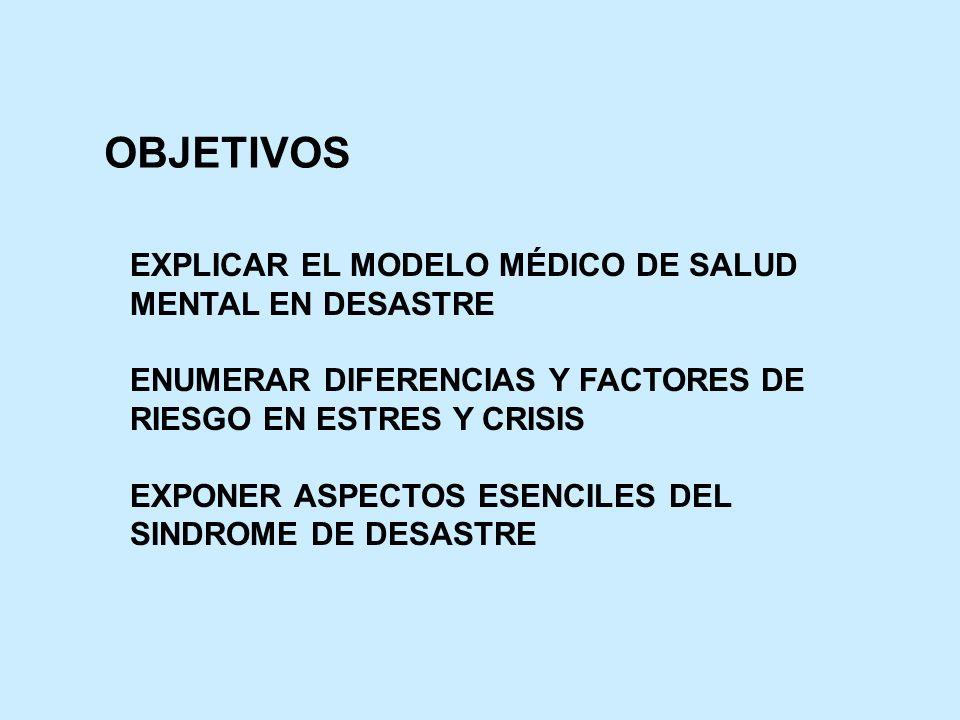 OBJETIVOS EXPLICAR EL MODELO MÉDICO DE SALUD MENTAL EN DESASTRE ENUMERAR DIFERENCIAS Y FACTORES DE RIESGO EN ESTRES Y CRISIS EXPONER ASPECTOS ESENCILE