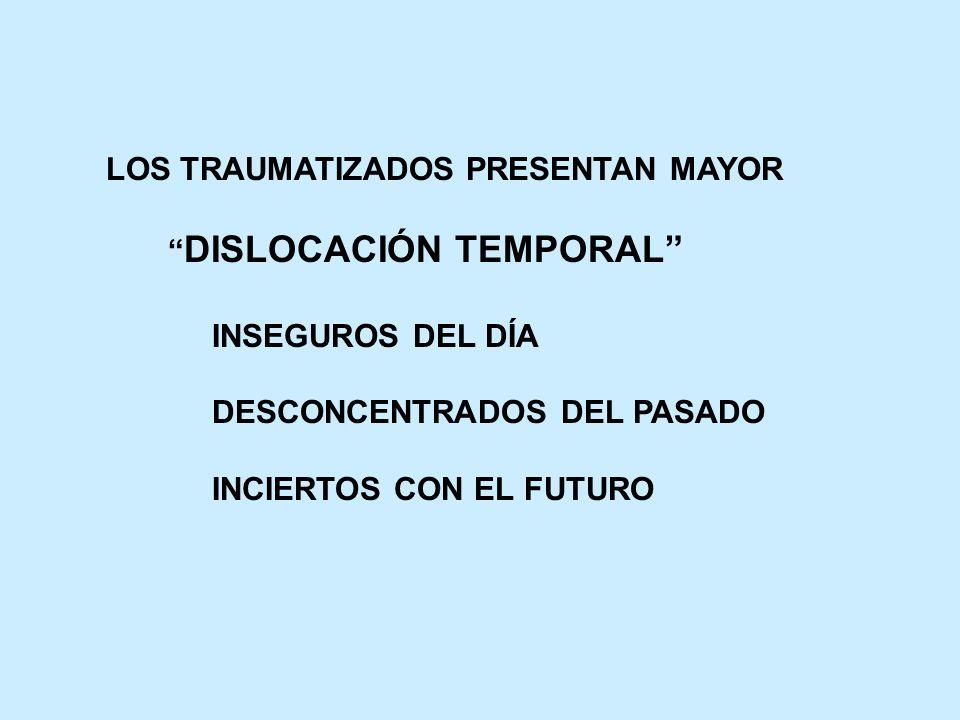 LOS TRAUMATIZADOS PRESENTAN MAYOR DISLOCACIÓN TEMPORAL INSEGUROS DEL DÍA DESCONCENTRADOS DEL PASADO INCIERTOS CON EL FUTURO