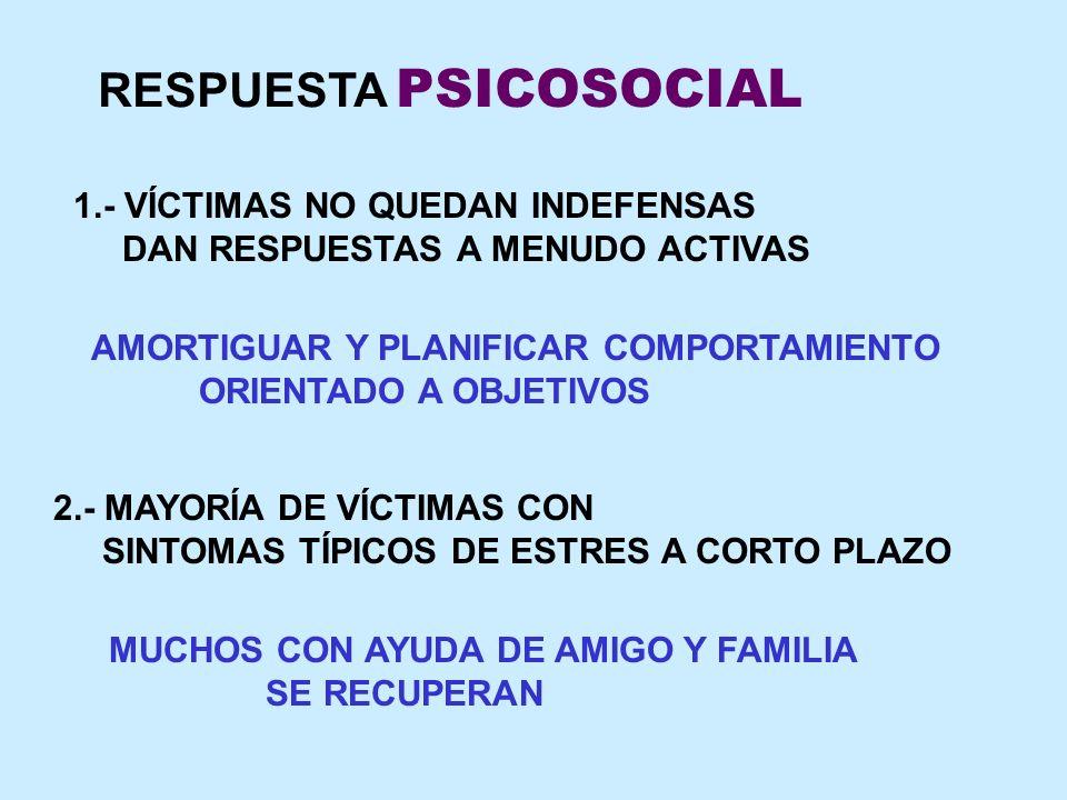 RESPUESTA PSICOSOCIAL 1.- VÍCTIMAS NO QUEDAN INDEFENSAS DAN RESPUESTAS A MENUDO ACTIVAS AMORTIGUAR Y PLANIFICAR COMPORTAMIENTO ORIENTADO A OBJETIVOS 2