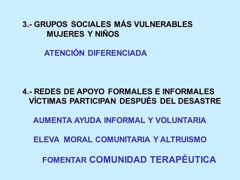 3.- GRUPOS SOCIALES MÁS VULNERABLES MUJERES Y NIÑOS ATENCIÓN DIFERENCIADA 4.- REDES DE APOYO FORMALES E INFORMALES VÍCTIMAS PARTICIPAN DESPUÉS DEL DES
