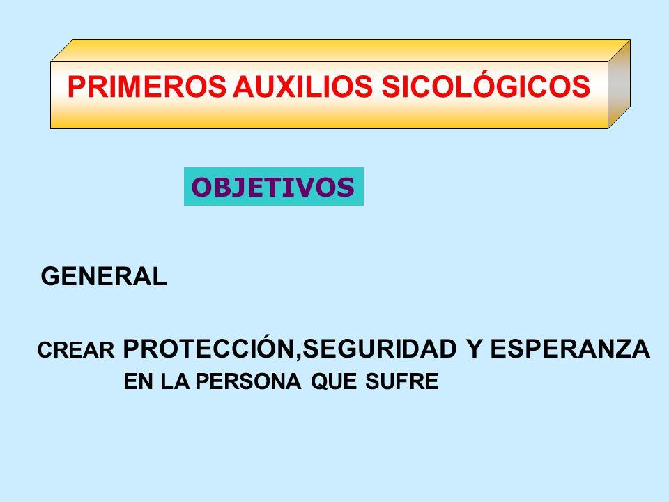 OBJETIVOS GENERAL CREAR PROTECCIÓN,SEGURIDAD Y ESPERANZA EN LA PERSONA QUE SUFRE PRIMEROS AUXILIOS SICOLÓGICOS