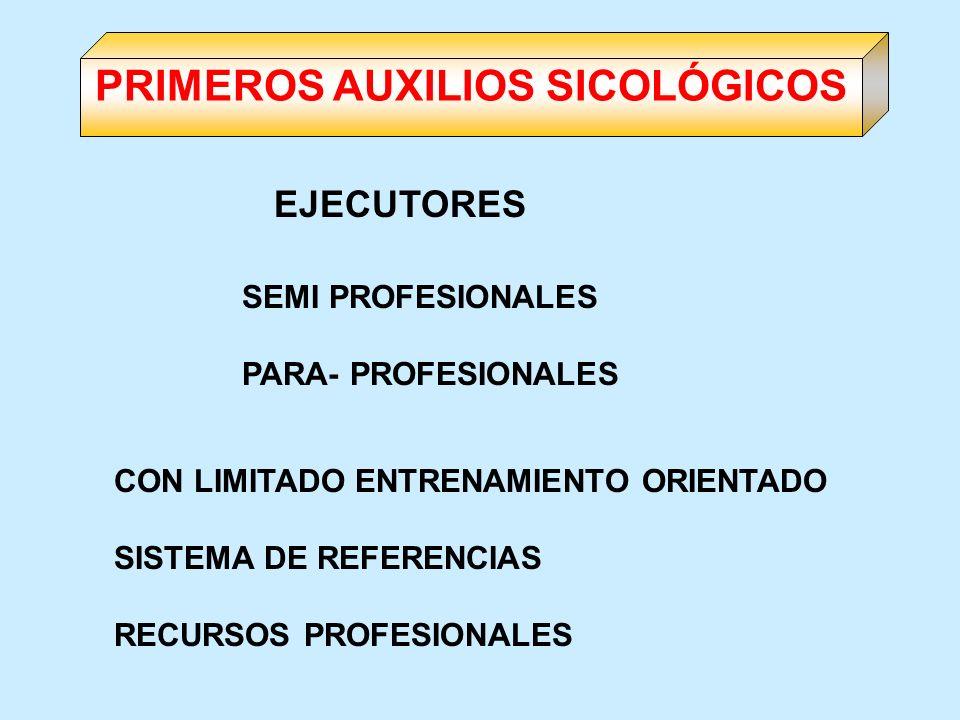SEMI PROFESIONALES PARA- PROFESIONALES CON LIMITADO ENTRENAMIENTO ORIENTADO SISTEMA DE REFERENCIAS RECURSOS PROFESIONALES PRIMEROS AUXILIOS SICOLÓGICO