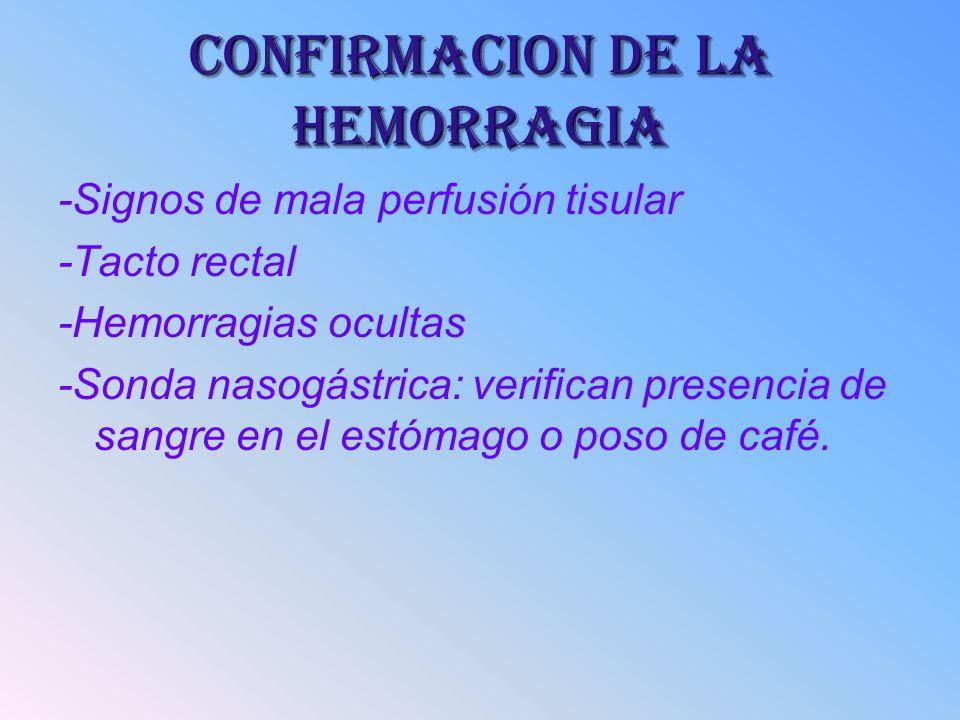 CONFIRMACION DE LA HEMORRAGIA -Signos de mala perfusión tisular -Tacto rectal -Hemorragias ocultas -Sonda nasogástrica: verifican presencia de sangre