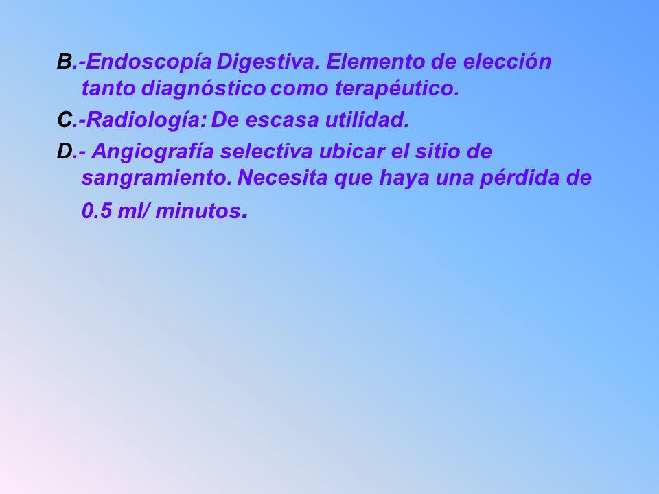 B.-Endoscopía Digestiva. Elemento de elección tanto diagnóstico como terapéutico. C.-Radiología: De escasa utilidad. D.- Angiografía selectiva ubicar