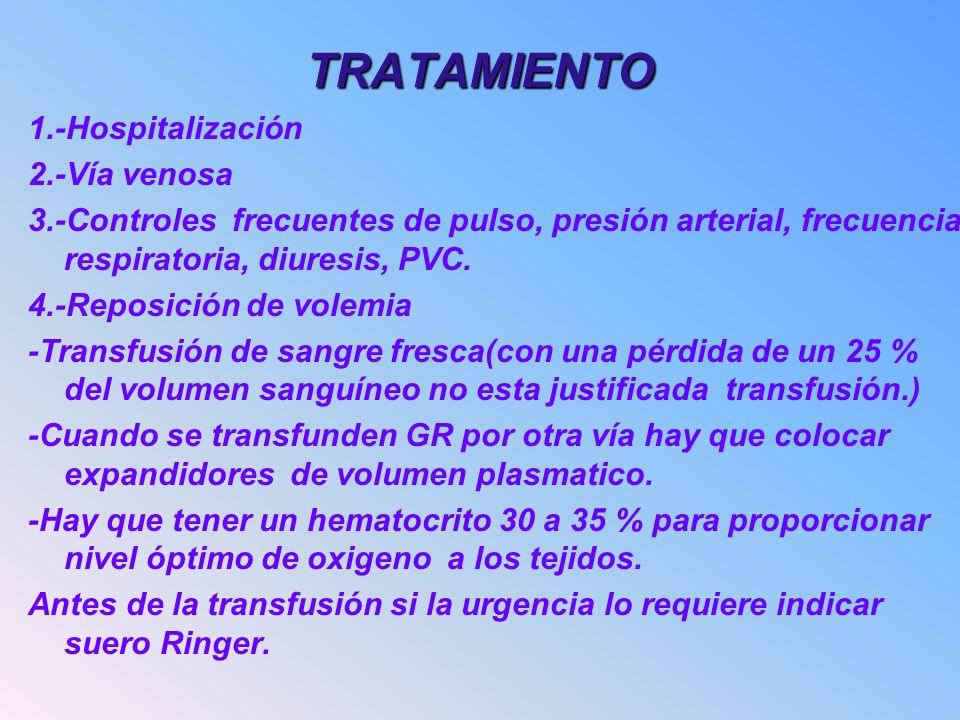 TRATAMIENTO 1.-Hospitalización 2.-Vía venosa 3.-Controles frecuentes de pulso, presión arterial, frecuencia respiratoria, diuresis, PVC. 4.-Reposición