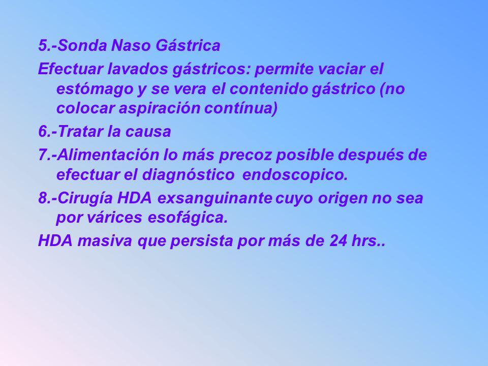 5.-Sonda Naso Gástrica Efectuar lavados gástricos: permite vaciar el estómago y se vera el contenido gástrico (no colocar aspiración contínua) 6.-Trat