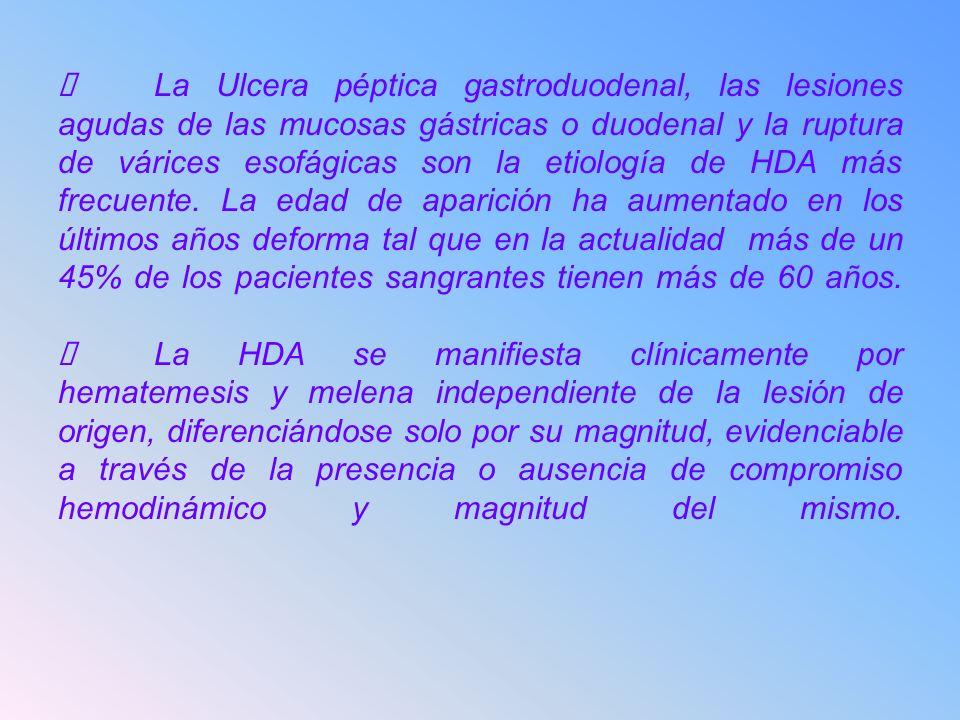 La Ulcera péptica gastroduodenal, las lesiones agudas de las mucosas gástricas o duodenal y la ruptura de várices esofágicas son la etiología de HDA m