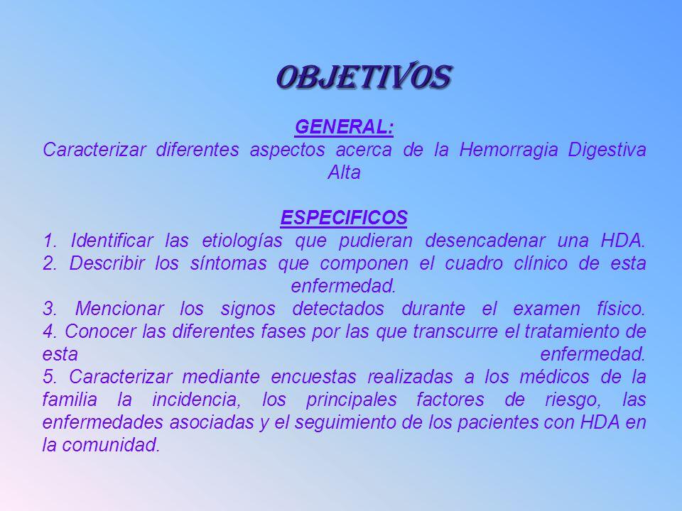 GENERAL: Caracterizar diferentes aspectos acerca de la Hemorragia Digestiva Alta ESPECIFICOS 1. Identificar las etiologías que pudieran desencadenar u