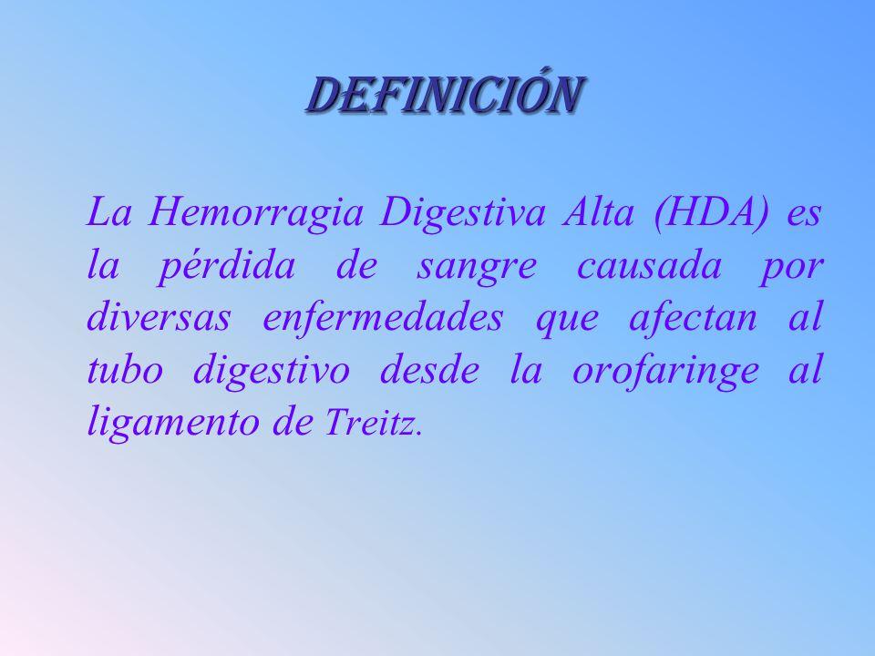 DEFINICIÓN La Hemorragia Digestiva Alta (HDA) es la pérdida de sangre causada por diversas enfermedades que afectan al tubo digestivo desde la orofari