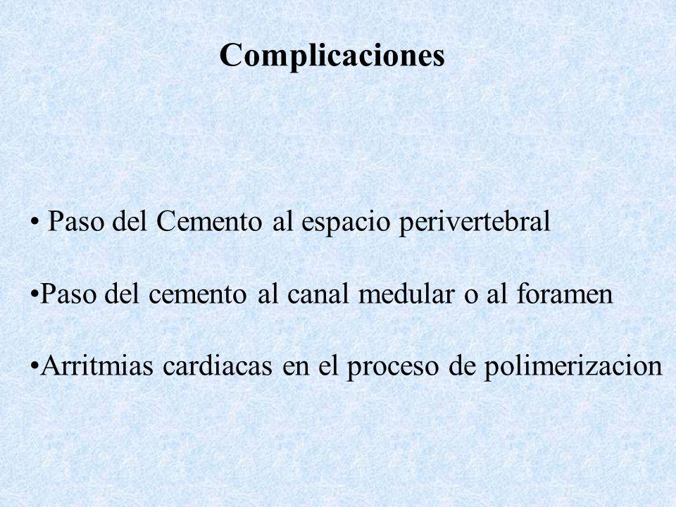 Complicaciones Paso del Cemento al espacio perivertebral Paso del cemento al canal medular o al foramen Arritmias cardiacas en el proceso de polimeriz