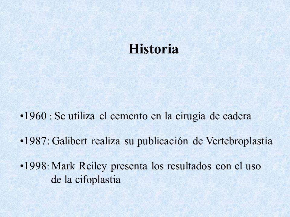 Historia 1960 : Se utiliza el cemento en la cirugía de cadera 1987: Galibert realiza su publicación de Vertebroplastia 1998 : Mark Reiley presenta los