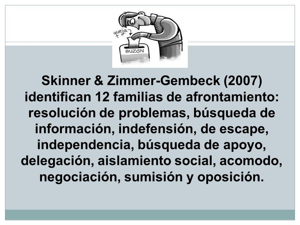 Skinner & Zimmer-Gembeck (2007) identifican 12 familias de afrontamiento: resolución de problemas, búsqueda de información, indefensión, de escape, in