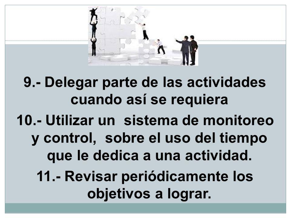9.- Delegar parte de las actividades cuando así se requiera 10.- Utilizar un sistema de monitoreo y control, sobre el uso del tiempo que le dedica a u