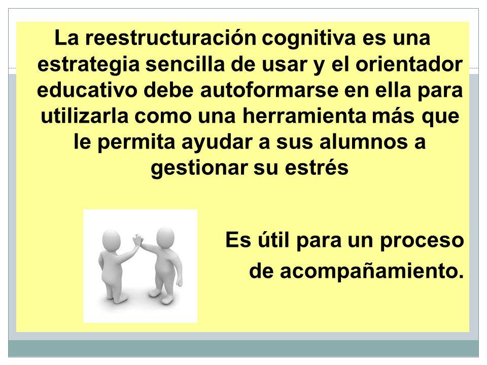La reestructuración cognitiva es una estrategia sencilla de usar y el orientador educativo debe autoformarse en ella para utilizarla como una herramie