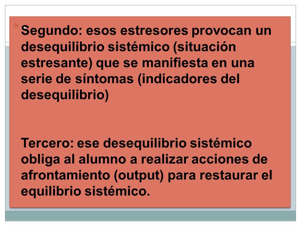 .. Segundo: esos estresores provocan un desequilibrio sistémico (situación estresante) que se manifiesta en una serie de síntomas (indicadores del des