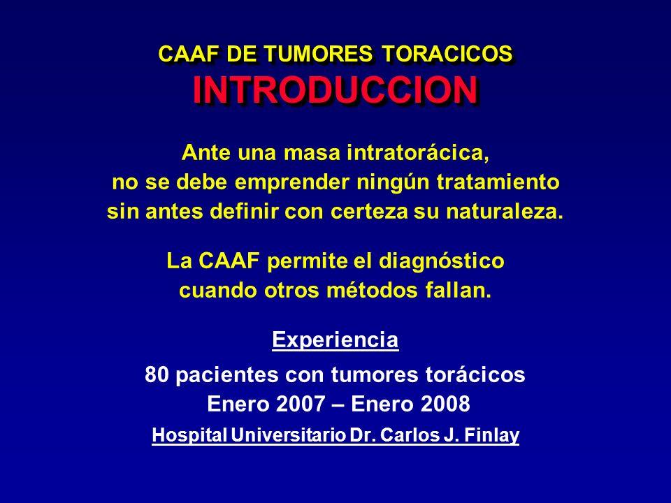 CAAF DE TUMORES TORACICOS INTRODUCCION Ante una masa intratorácica, no se debe emprender ningún tratamiento sin antes definir con certeza su naturalez
