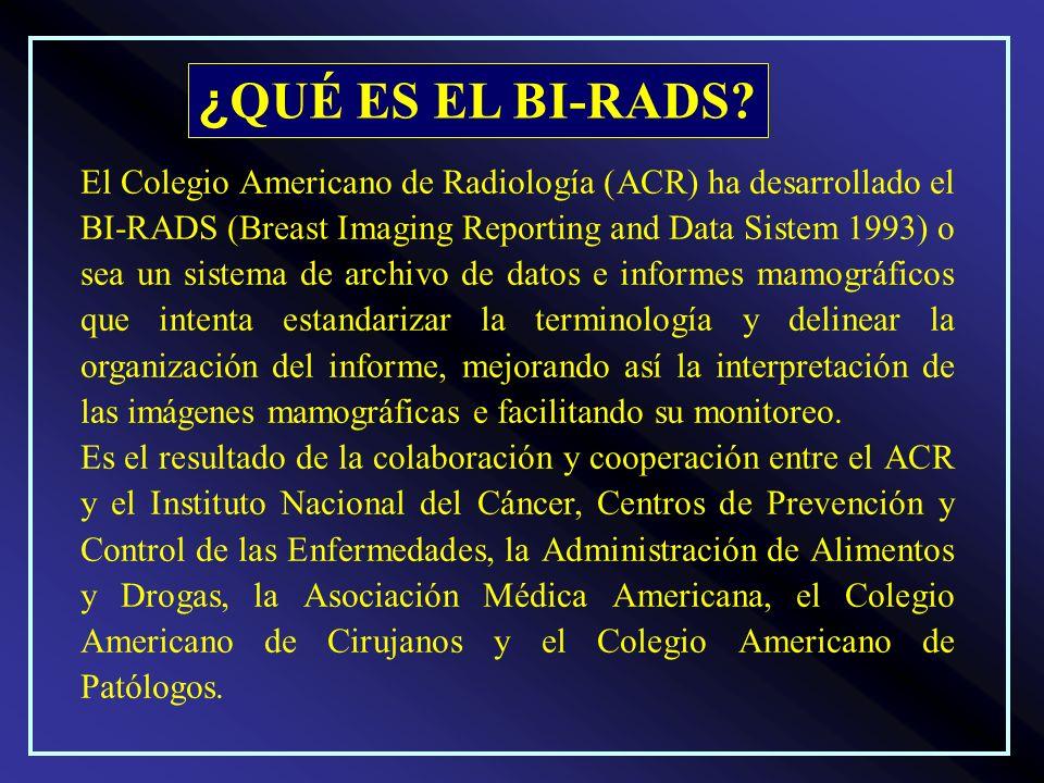 El Colegio Americano de Radiología (ACR) ha desarrollado el BI-RADS (Breast Imaging Reporting and Data Sistem 1993) o sea un sistema de archivo de dat