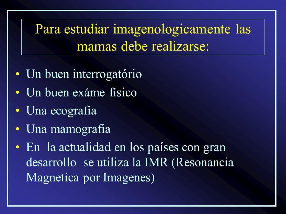 Para estudiar imagenologicamente las mamas debe realizarse: Un buen interrogatório Un buen exáme físico Una ecografia Una mamografia En la actualidad