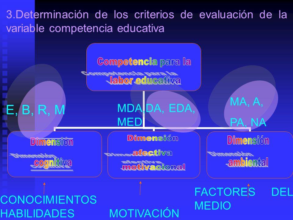 E, B, R, M MDA,DA, EDA, MED MA, A, PA, NA CONOCIMIENTOS HABILIDADES MOTIVACIÓN FACTORES DEL MEDIO 3.Determinación de los criterios de evaluación de la