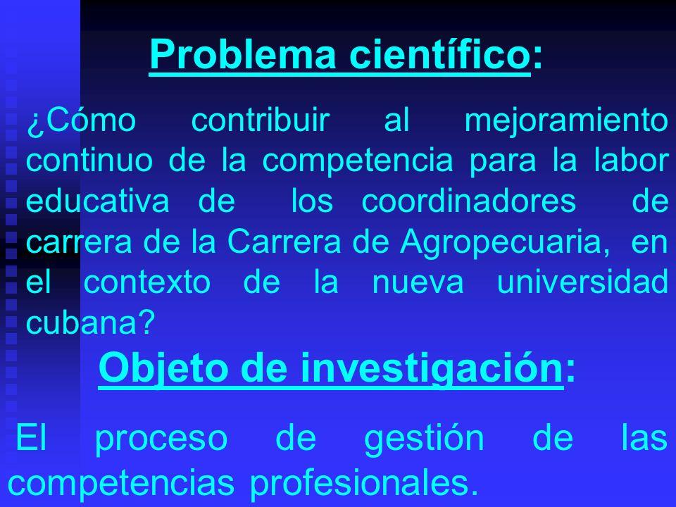 Problema científico: ¿Cómo contribuir al mejoramiento continuo de la competencia para la labor educativa de los coordinadores de carrera de la Carrera de Agropecuaria, en el contexto de la nueva universidad cubana.