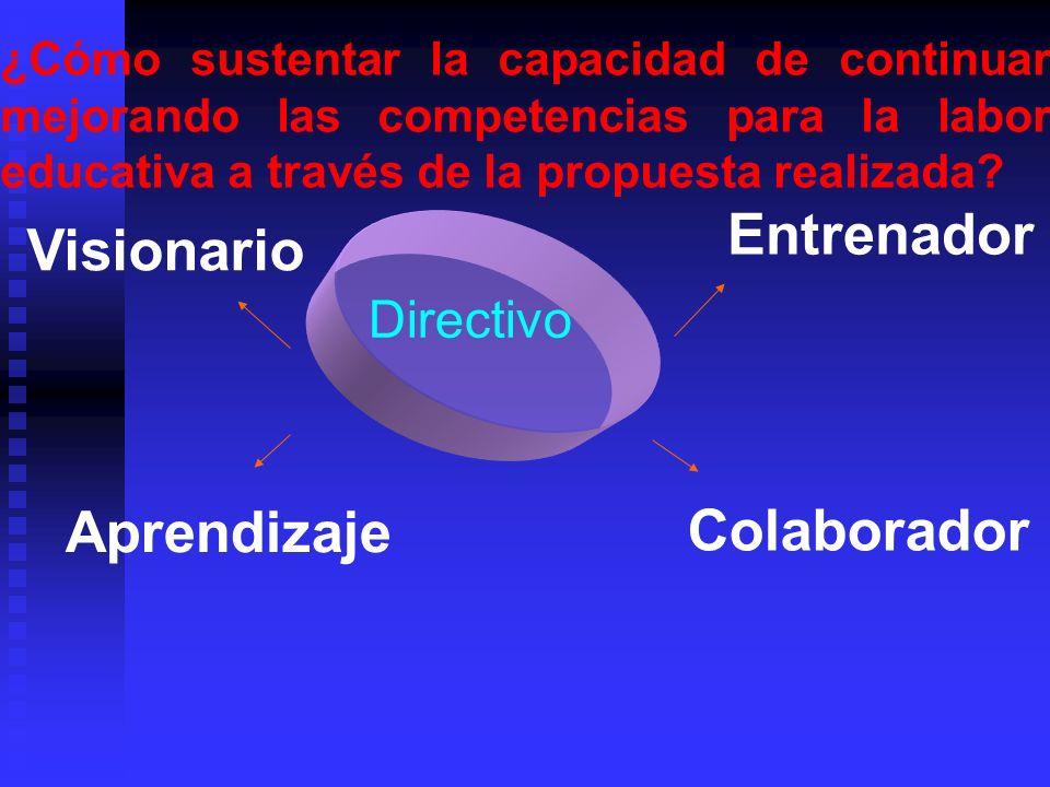 ¿Cómo sustentar la capacidad de continuar mejorando las competencias para la labor educativa a través de la propuesta realizada? Visionario Entrenador