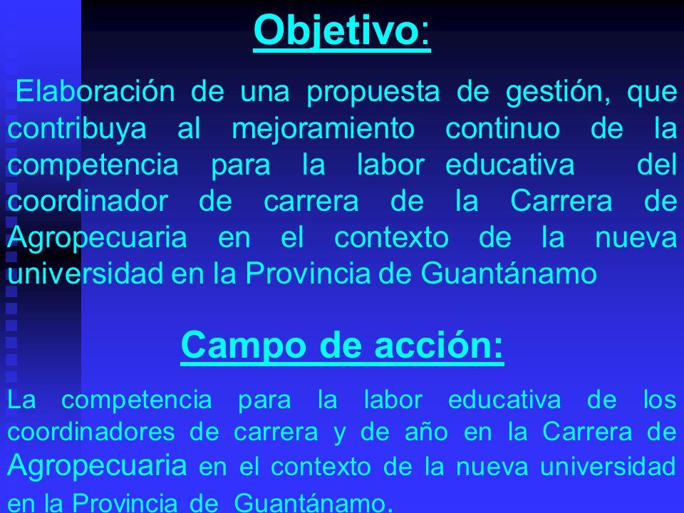 Objetivo: Elaboración de una propuesta de gestión, que contribuya al mejoramiento continuo de la competencia para la labor educativa del coordinador d