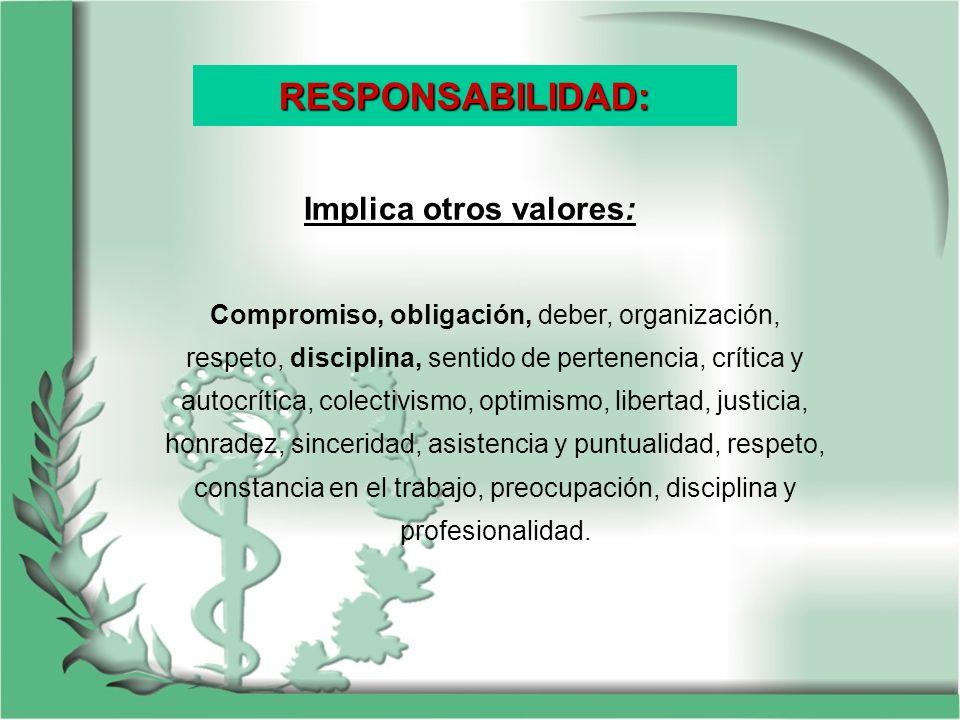 Implica otros valores: Compromiso, obligación, deber, organización, respeto, disciplina, sentido de pertenencia, crítica y autocrítica, colectivismo,
